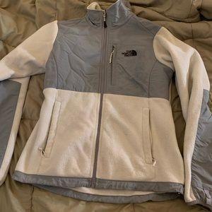Women's North Face zip up white fleece small